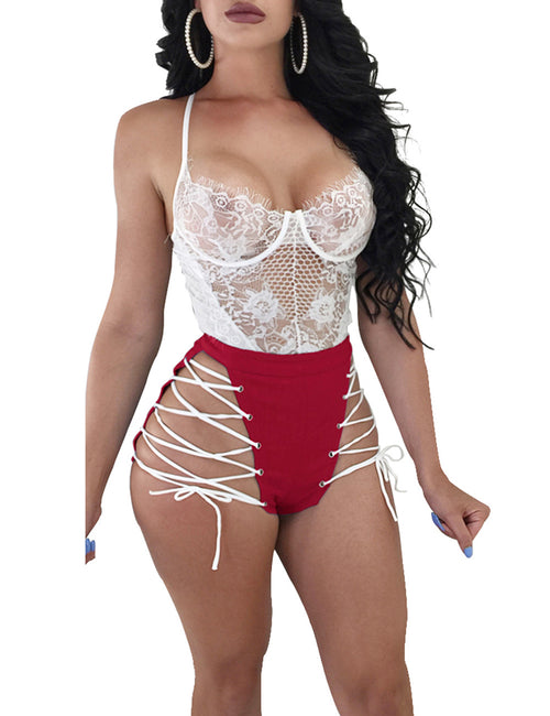 Super Sexy Buckle Bandage Cut Shorts Empire Waist Home Clothes
