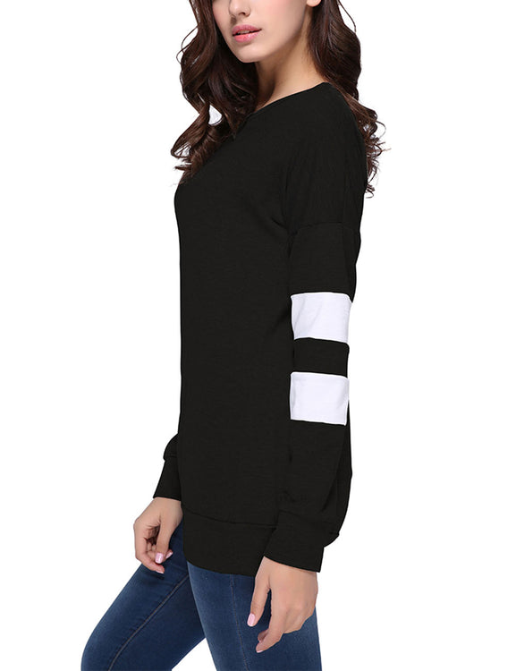 Super Side Stripe Print T-Shirt Drop Shoulder Feminine Grace