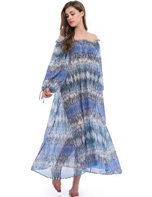 Svelte Off Shoulder Boho Maxi Dress Beach Fashion