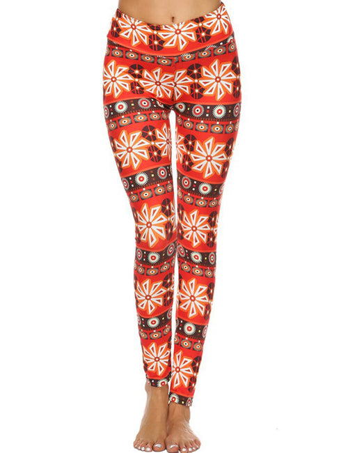 Svelte Style High Rise Flower Printed Brushed Leggings Elegance