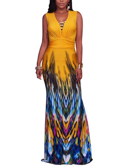 Sweet Boho Print Cover Up Lace-Up Front Maxi Dress All Over Smooth