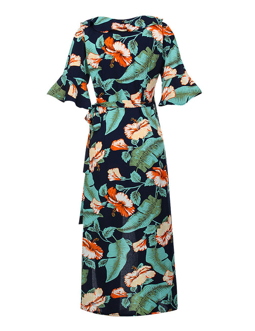 Sweet Flounce Print Kimono Dresses With Sash Dress For Women