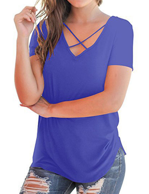 Sweetheart Plunge Neck Top Tees Short Sleeve Elasticity