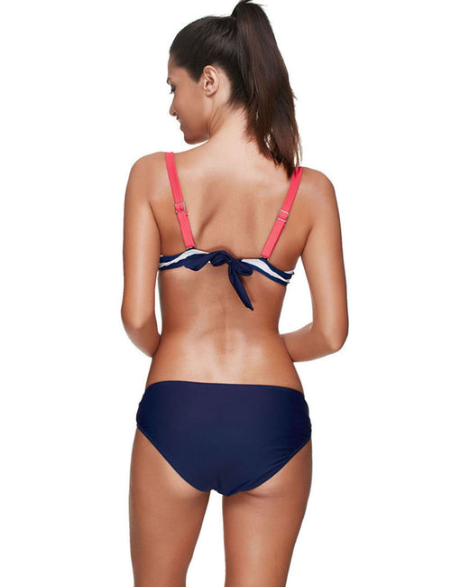 Sweetheart Striped Top Underwire Two Piece Swimsuits Large Under The Sun