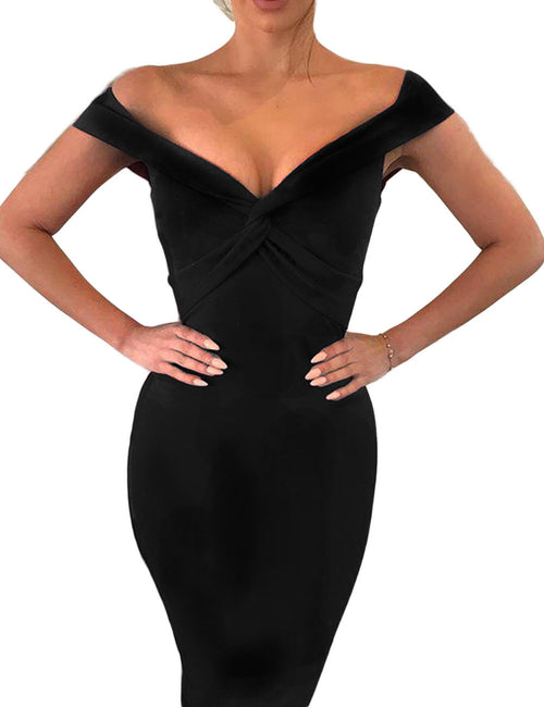 Sweety Cross-Knotted Bodycon Dress Word Shoulder Ultra Cheap