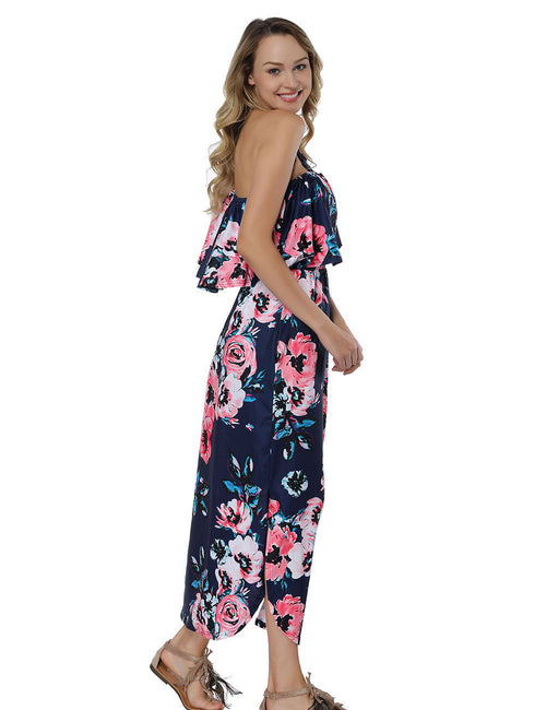 Sweety Floral Print Long Dresses Flounce Off The Shoulder Holiday