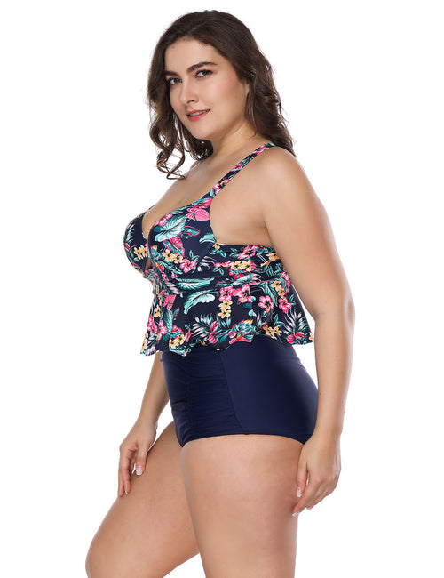 Swimming Queen Size Flower Printed High Rise Tankini Soft
