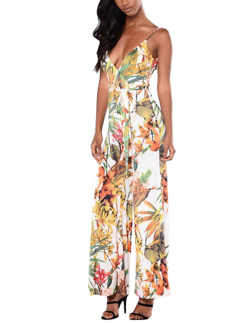 Tailored Printed Sash Romper Floor Length Stunning Style