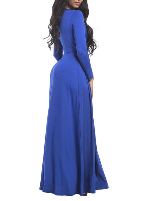 Tantalizing Large Size Ruffled Waist Long Dress Super Faddish