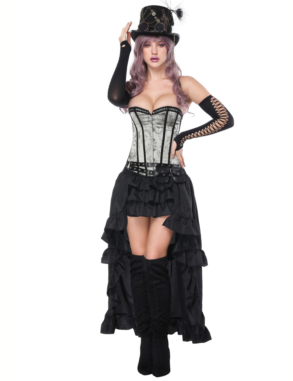 Tempting Mental Hole Overbust Corset With Layered Skirt Tummy Control