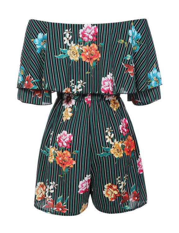 Tight Fit Strapless Floral Printing Rompers Side Pocket Feminine Charm