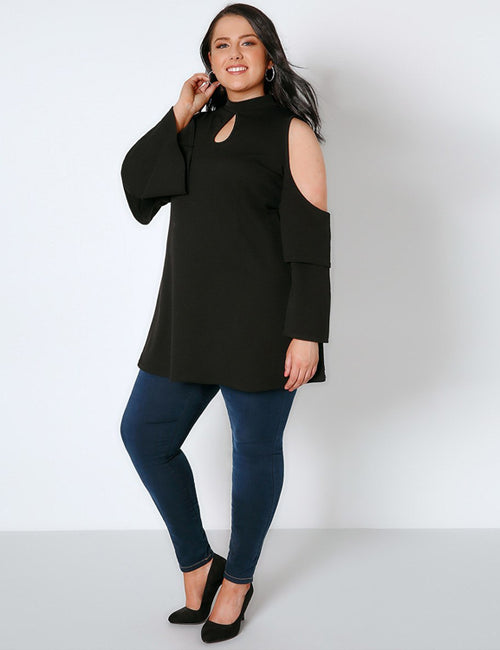 Plus Size Cold Shoulder Ruffled Sleeve Shirt
