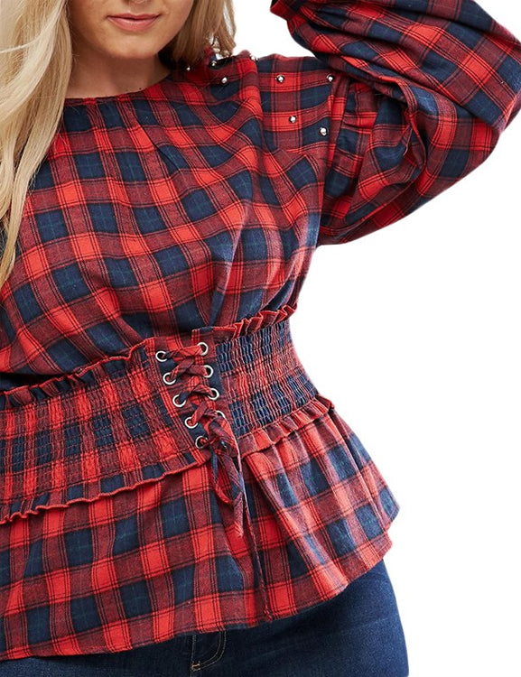 Plus Size Plaid O-Neck Shirt Blouse