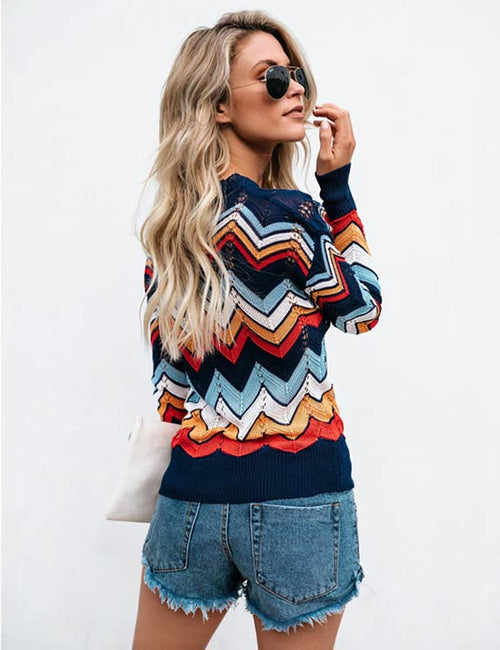 Rainbow Knitted Pullovers Commuter Sweater