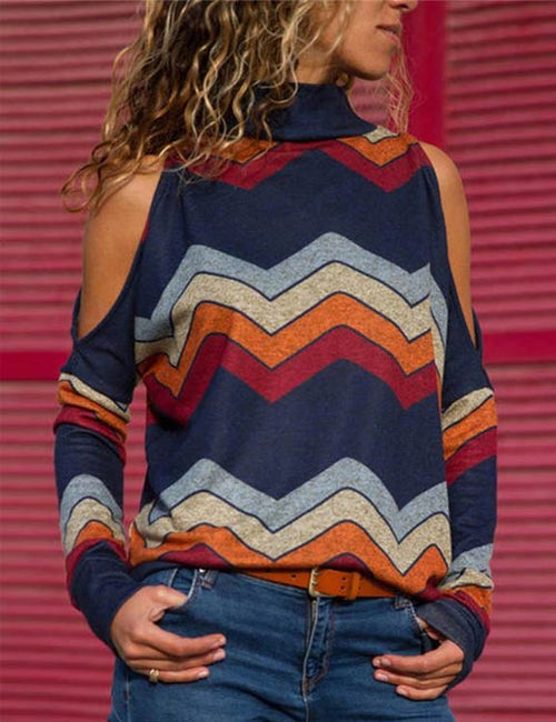 High-neck Long Sleeved Printed Off-shoulder Striped Tops
