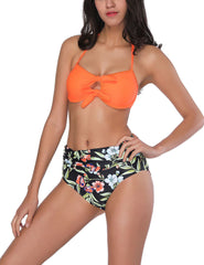 Trendy Halter Neck Backless Print Panty Beach Honeymoon