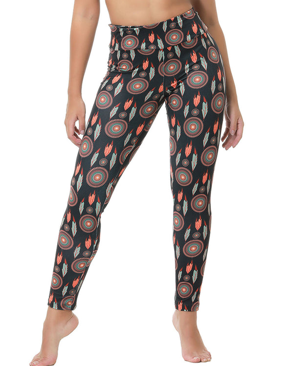 Trendy High Rise Brushed Leggings Printed Women