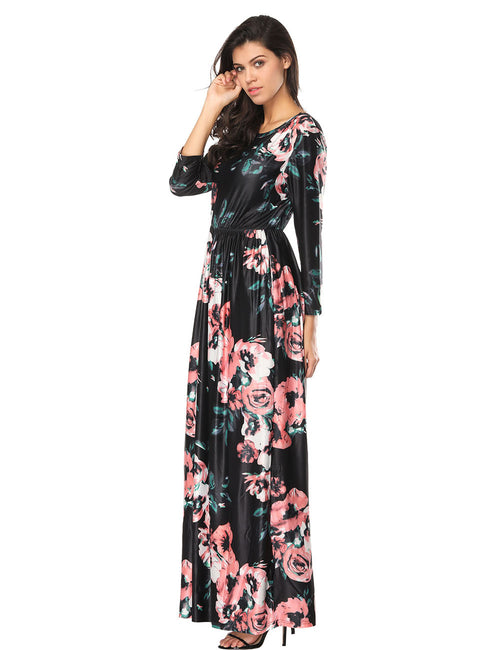 Trendy Long Sleeves Multi Flower Draped Dress Pockets Sheath