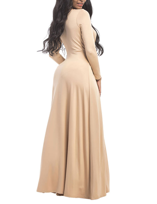 Trendy Plus Round Neckline Maxi Dress High Waist Cool Fashion