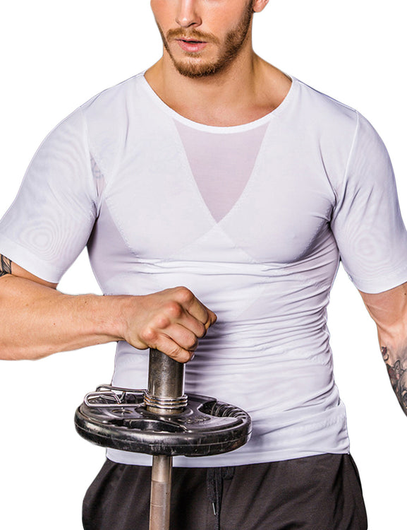 Tummy Control Mens Short Sleeved Mesh Slimming Top Crossover