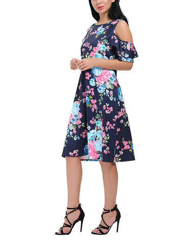 Ultra Fresh Floral Cold Shoulder Dress Short Sleeves For Women