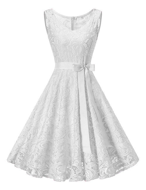 Ultra Hot Lace Plus Swing Dress With Bowknot Belt Adult