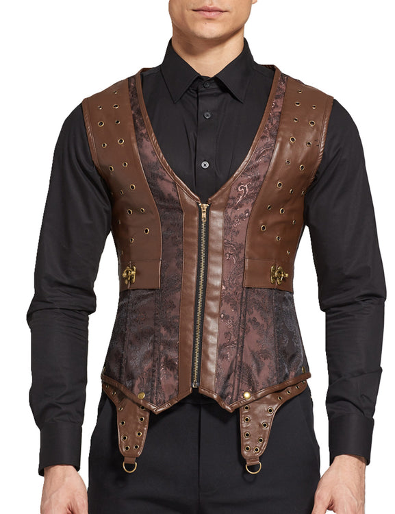 Ultra Sexy Steampunk Men 8 Steel Bones Waistcoat Corset Front Zipper Slim