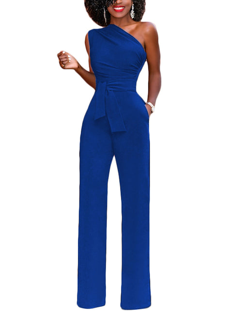 Unbelievable Ankle-Length Wide Legged Jumsuit Waist Knot Feminine Romance