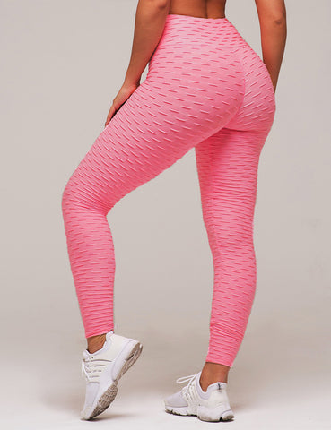 Plus Size Pink High Waist Push Up Black Spandex Pants Workout Fitness Leggings