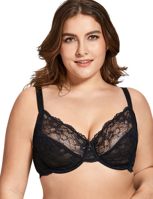 Women's Lace  Full Coverage Underwired Bra 32-40 B C D DD E F