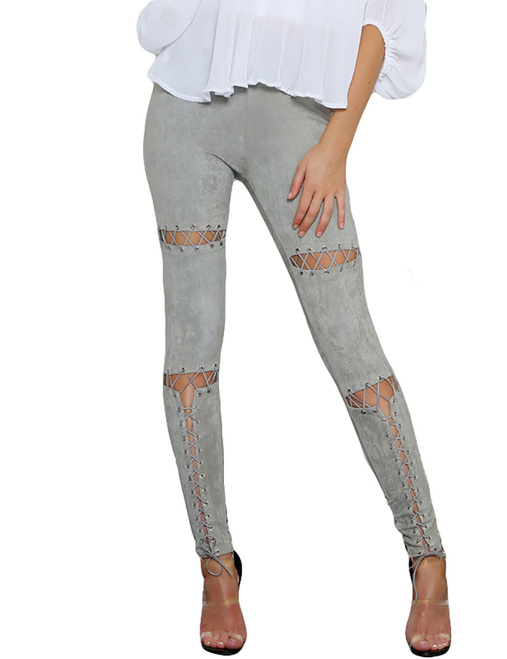 Unforgettable Ripped Leg Pants Ankle Length High Rise Grade