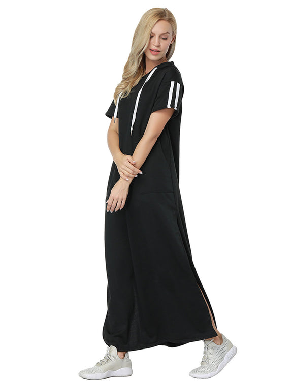 Unique Fall Short Sleeve Hoodie Maxi Dress Lightweight