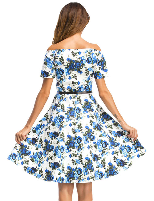 Utility Flower Short Sleeve Sweetheart Off Shoulder Dress Womenswear