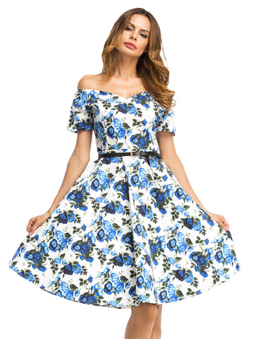 Inviting V Neck Flower Print Short Skater Dress Casual Comfort