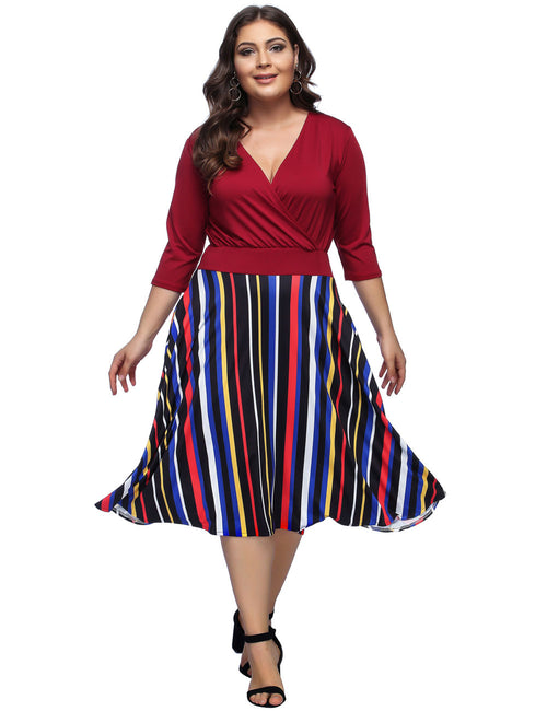 Utility Midi Plus Swing Dress 3/4 Sleeve Sheath
