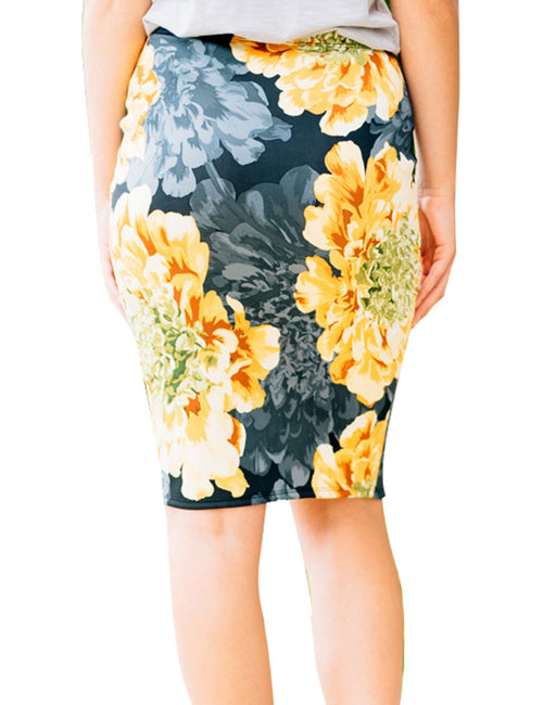 Utility Soft High Waist Floral Printed Stretch Skirt Knee Length