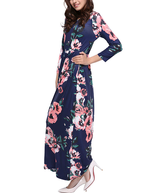 Versatile Flower Side Pocket Dress Full Length With Sleeves Eye Catcher