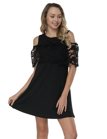 Vibrant Cold Shoulder Short Dresses Stitching Floral Lace Casual Comfort