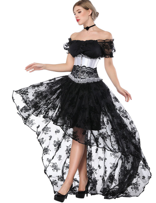 Vintage Inspired Off Shoulder Pleated Lace Underbust Corset 2 Pieces Stretch