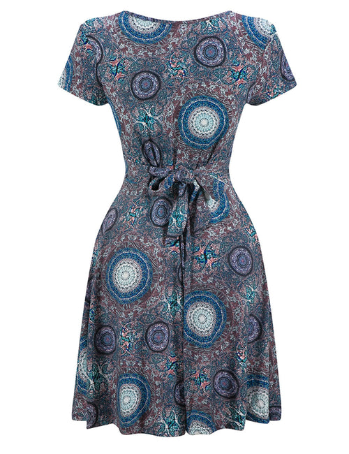 Vintage V Neck Patterned Mini Dress Ruch Hem High Waist Superior Quality