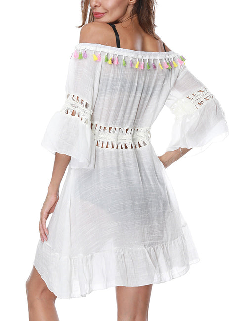 Virtuoso Off Shoulder Tassel Beach Dress Hollow Out Waist Fashion Shopping