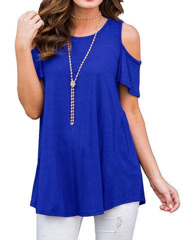 Vivid Round Collar Blouses Cold Shoulder Womens Latest Clothes