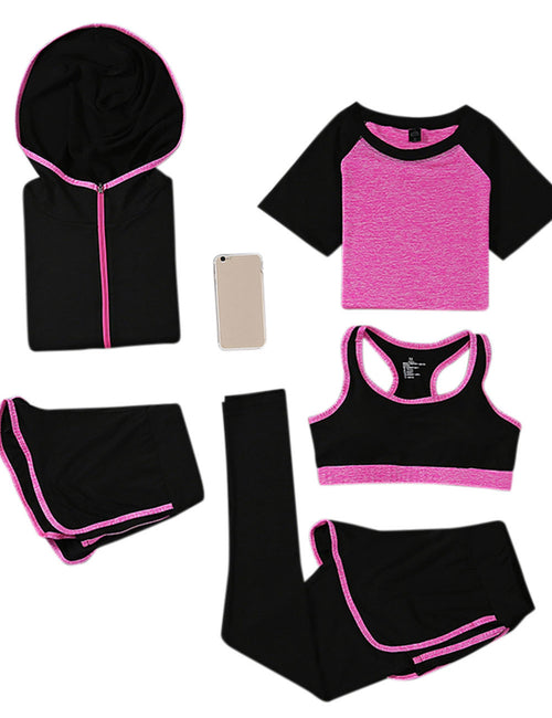 Vogue Five Pieces Yoga Sweat Suits Mid Support