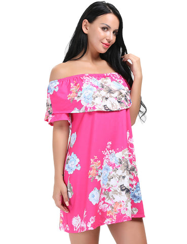 Well-Suited Elastic Neck Sleeved Strapless Floral Dress Glamor Women
