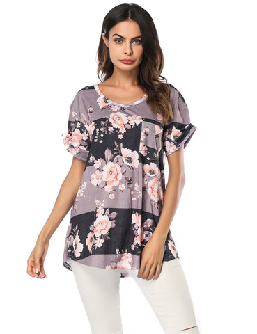 Well-Suited Floral Pattern Blouses V Collar Garment