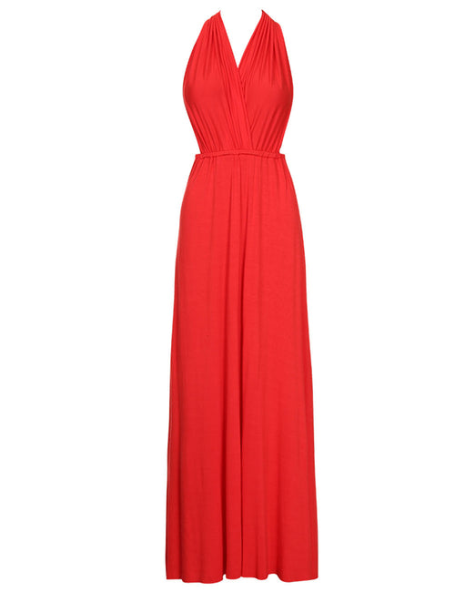 Well-Suited Tie Halter Neck Maxi Dress Open Back Comfort Fashion