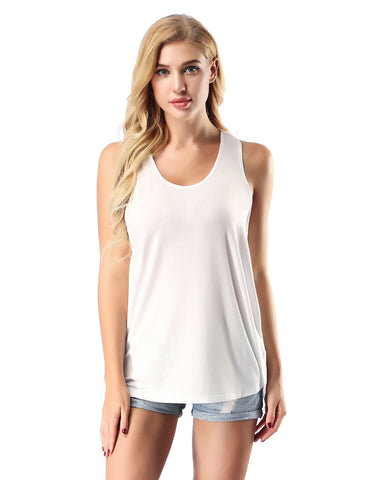 Wonderful Bamboo Fiber Tank Tops Round Collar High Elasticity