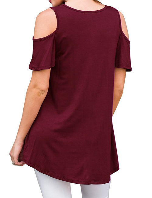 Young Girl Cold Shoulder Tees Loose Fit Slim