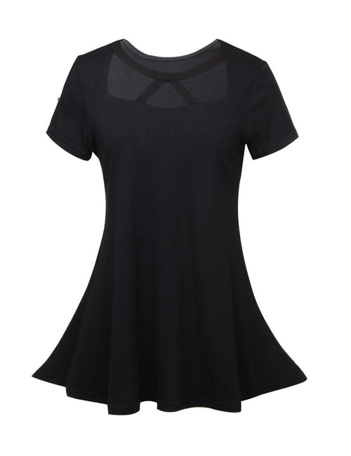 Young Girl Hollow Out Round Neck Shirts Short Sleeves Stretchy