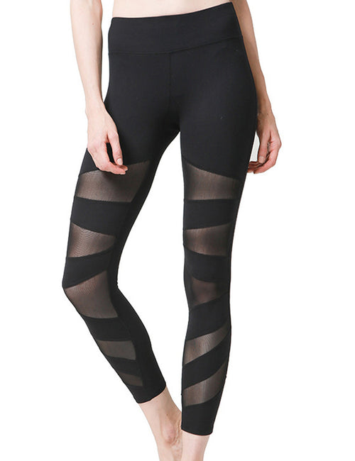 Young Lady Asymmetrical Mesh Panel Jogging Legging Leisure Fashion